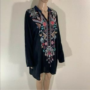 Johnny Was black Tunic blouse